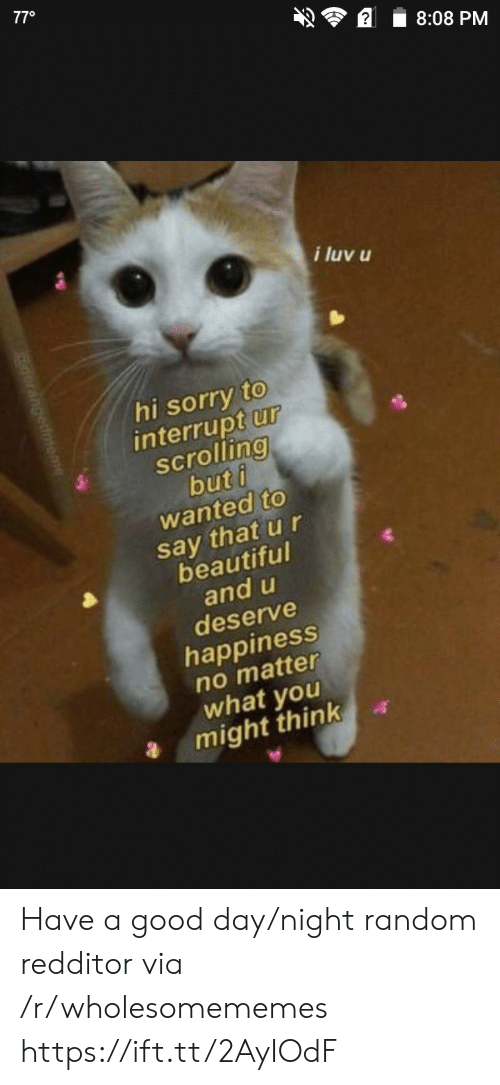 Redditor: 770  8:08 PM  i luv u  hi sorry to  interrupt ur  scrolling  but i  wanted to  say that u r  beautiful  and u  deserve  happiness  no matter  what you  might think Have a good day/night random redditor via /r/wholesomememes https://ift.tt/2AyIOdF