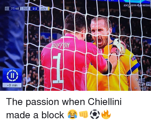 fon: 774 11011-1-2  TOT  ESCL SI VA  JUV  MEDIAS  FoN  0 min The passion when Chiellini made a block 😂👊⚽️🔥
