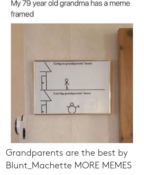Dank, Grandma, and Meme: 79  old  grandma  has  My year  framed  a meme  Going to grandparents' house  Leaving grandparents house Grandparents are the best by Blunt_Machette MORE MEMES