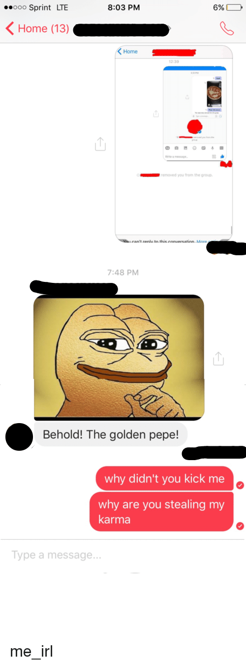 Golden Pepe: 8:03 PM  ooo Sprint LTE  6%,  K Home (13)  K Home  s  removed you from the group.  7:48 PM  Behold! The golden pepe!  why didn't you kick me  why are you stealing my  karma  Type a message. me_irl