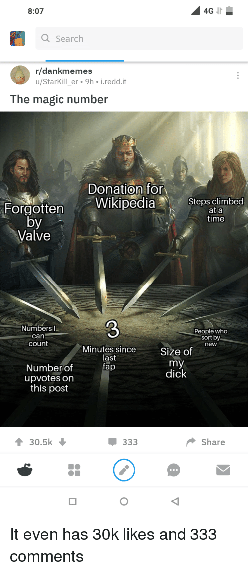Funny, Dick, and Magic: 8:07  4G  Q Search  r/dankmemes  u/StarKill er 9h i.redd.it  The magic number  Donation for  ForgottenWikipedia Stepsinbed  at a  time  by  Valve  Numbers.I  can  count  3  Minutes since Size of he  People who  sort by  new  last  tap  Number df  upvotes on  this post  dick  30.5k  Џ 333  Share