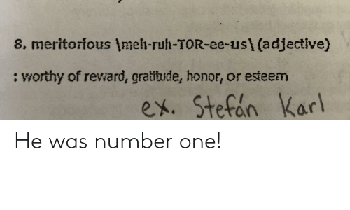 Dank Memes, Tor, and One: 8, meritorious Imeh-ruh-TOR-ee-us\ (adjective)  : worthy of reward, gratitude, honor, or esteem  ex. Stefin Karl He was number one!