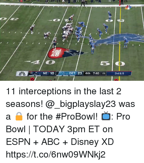 probowl: & 8  NE 10  02 DET 23 4th 7:40 :08  2nd & 8 11 interceptions in the last 2 seasons! @_bigplayslay23 was a 🔒 for the #ProBowl!  📺: Pro Bowl   TODAY 3pm ET on ESPN + ABC + Disney XD https://t.co/6nw09WNkj2
