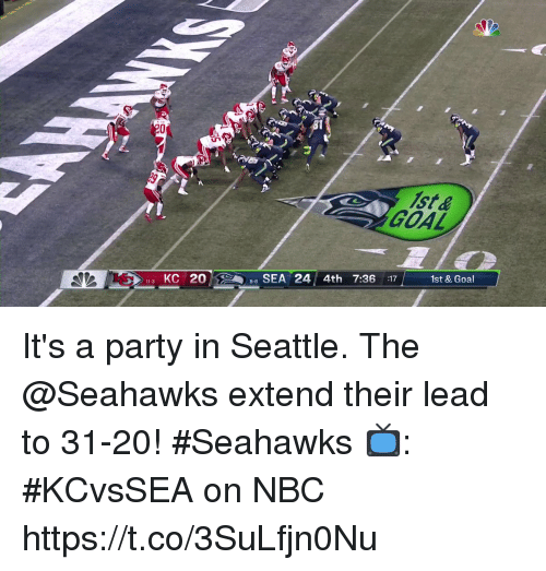 Memes, Party, and Goal: 81  GOAL  3 KC 20  SEA 24 4th 7:36 :17  1st & Goal It's a party in Seattle.  The @Seahawks extend their lead to 31-20! #Seahawks  📺: #KCvsSEA on NBC https://t.co/3SuLfjn0Nu