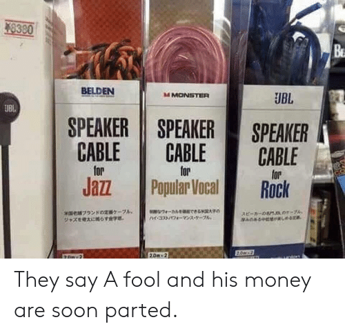 Money, Monster, and Soon...: 8300  Be  BELDEN  M MONSTER  UBL  UBl,  SPEAKER SPEAKER SPEAKER  CABLE CABLE CABLE  lor  for  Jazz Popular Veaock  xmex,ブランドの顁ケーフA,  スピーカーの6MJAO?-7A, They say A fool and his money are soon parted.