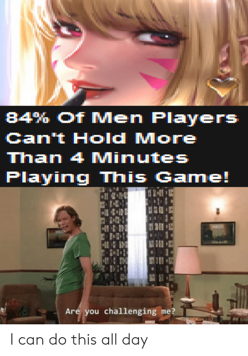 Game, Can, and Day: 84% Of Men Players  Can't Hold More  Than 4 Minutes  Playing This Game!  21  H  Are you challenging me? I can do this all day