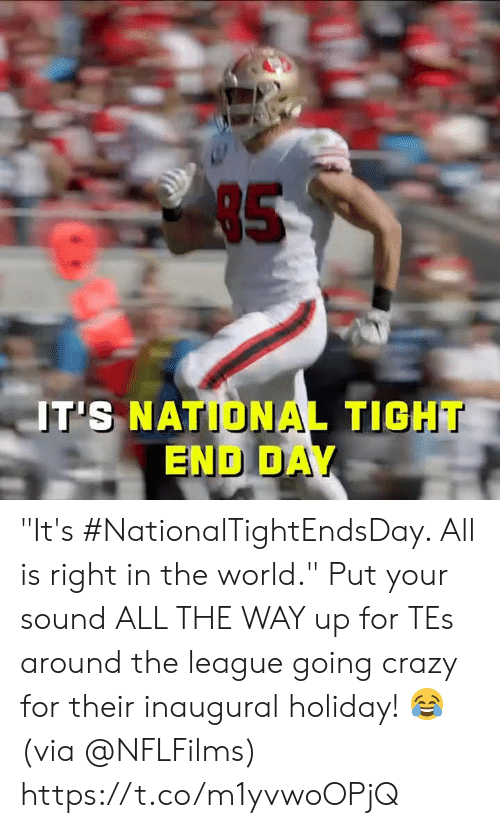 """Crazy, Memes, and The League: 85  T'S NATIONAL TIGHT  END DAY """"It's #NationalTightEndsDay. All is right in the world.""""  Put your sound ALL THE WAY up for TEs around the league going crazy for their inaugural holiday! 😂 (via @NFLFilms) https://t.co/m1yvwoOPjQ"""