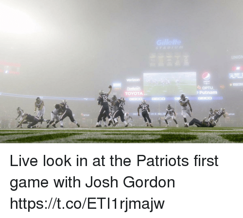 Ballon: 857  20  OPTU  e Putnam  TOYOTA  2ND F  QTR 4 BALLON  OPTUM  OPTUM Live look in at the Patriots first game with Josh Gordon https://t.co/ETI1rjmajw
