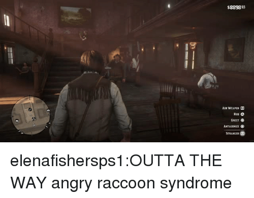 Tumblr, Blog, and Raccoon: $889865  AIM WEAPON R2  GREET  ANTAGONIZE  STRANGER elenafishersps1:OUTTA THE WAY  angry raccoon syndrome