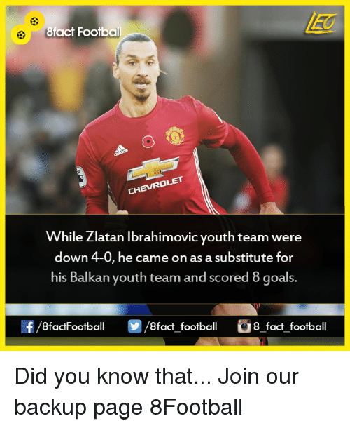 Memes, Zlatan Ibrahimovic, and Youth: 8fact Footbal  While Zlatan Ibrahimovic youth team were  down 4-0, he came on as a substitute for  his Balkan youth team and scored 8 goals.  8factFootball  8fact football 8 fact football  2/8 Did you know that...  Join our backup page 8Football