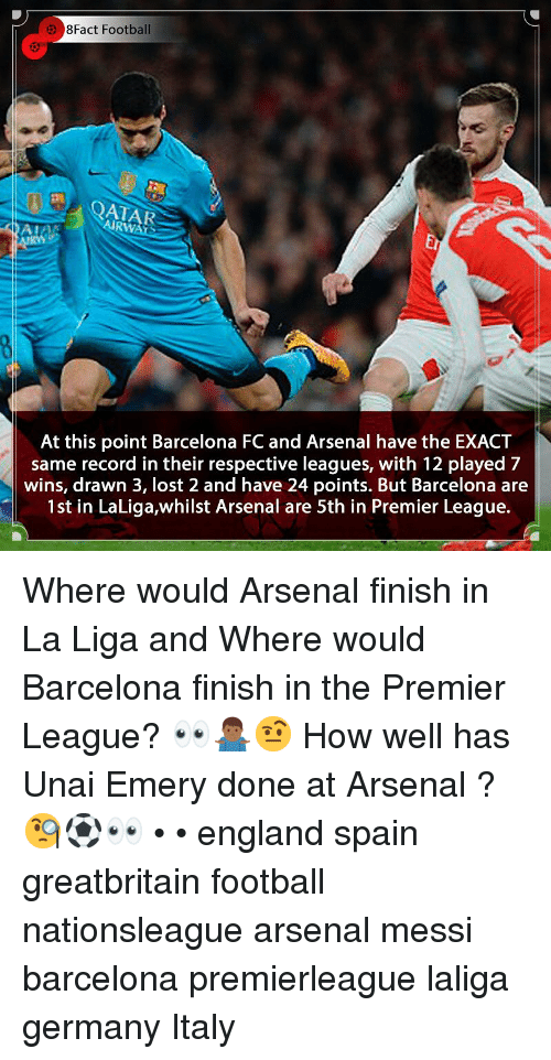 Arsenal, Barcelona, and England: 8Fact Football  AIRWATS  Er  At this point Barcelona FC and Arsenal have the EXACT  same record in their respective leagues, with 12 played 7  wins, drawn 3, lost 2 and have 24 points. But Barcelona are  1st in LaLiga,whilst Arsenal are 5th in Premier League. Where would Arsenal finish in La Liga and Where would Barcelona finish in the Premier League? 👀🤷🏾‍♂️🤨 How well has Unai Emery done at Arsenal ? 🧐⚽️👀 • • england spain greatbritain football nationsleague arsenal messi barcelona premierleague laliga germany Italy