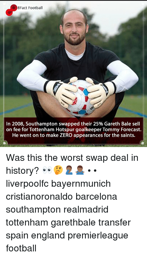 Barcelona, England, and Football: 8Fact Football  In 2008, Southampton swapped their 25% Gareth Bale sell  on fee for Tottenham Hotspur goalkeeper Tommy Forecast.  He went on to make ZERO appearances for the saints. Was this the worst swap deal in history? 👀🤔🤦🏾♂️🤷🏾♂️ • • liverpoolfc bayernmunich cristianoronaldo barcelona southampton realmadrid tottenham garethbale transfer spain england premierleague football