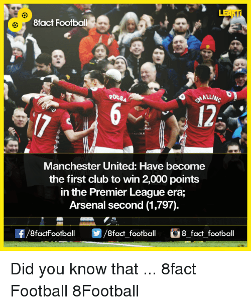 premiere league: 8fact Football  ROGBA  Manchester United: Have become  the first club to win 2,000 points  in the Premier League era,  Arsenal second (1,797)  8factFootball  fact football  G8 fact football Did you know that ...  8fact Football  8Football