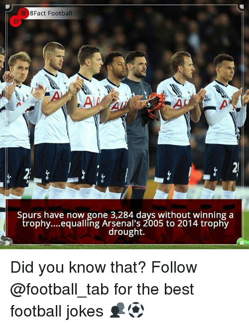 Equalizer: 8Fact Football  Spurs have now gone 3,284 days without winning a  trophy... equalling Arsenal's 2005 to 2014 trophy  drought. Did you know that? Follow @football_tab for the best football jokes 👥⚽️