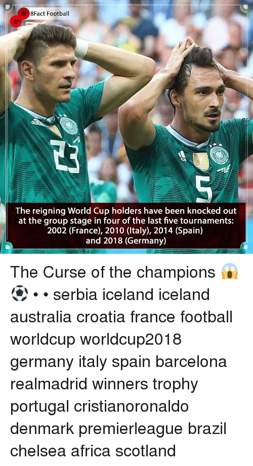 Africa, Barcelona, and Chelsea: 8Fact Football  The reigning World Cup holders have been knocked out  at the group stage in four of the last five tournaments:  2002 (France), 2010 (ltaly), 2014 (Spain)  and 2018 (Germany) The Curse of the champions 😱⚽️ • • serbia iceland iceland australia croatia france football worldcup worldcup2018 germany italy spain barcelona realmadrid winners trophy portugal cristianoronaldo denmark premierleague brazil chelsea africa scotland