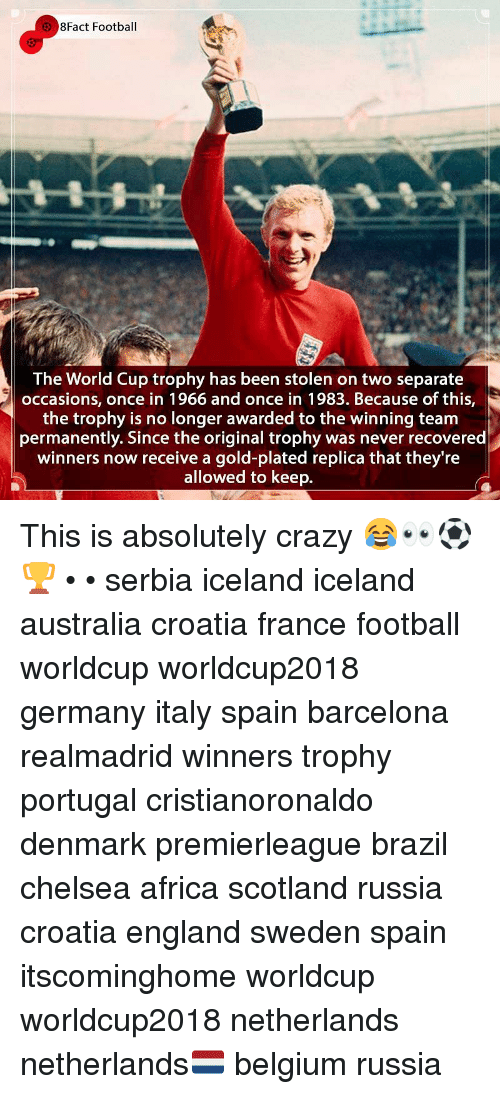 Africa, Barcelona, and Belgium: 8Fact Football  The World Cup trophy has been stolen on two separate  occasions, once in 1966 and once in 1983. Because of this,  the trophy is no longer awarded to the winning team  permanently. Since the original trophy was never recovered  winners now receive a gold-plated replica that they're  allowed to keep. This is absolutely crazy 😂👀⚽️🏆 • • serbia iceland iceland australia croatia france football worldcup worldcup2018 germany italy spain barcelona realmadrid winners trophy portugal cristianoronaldo denmark premierleague brazil chelsea africa scotland russia croatia england sweden spain itscominghome worldcup worldcup2018 netherlands netherlands🇳🇱 belgium russia