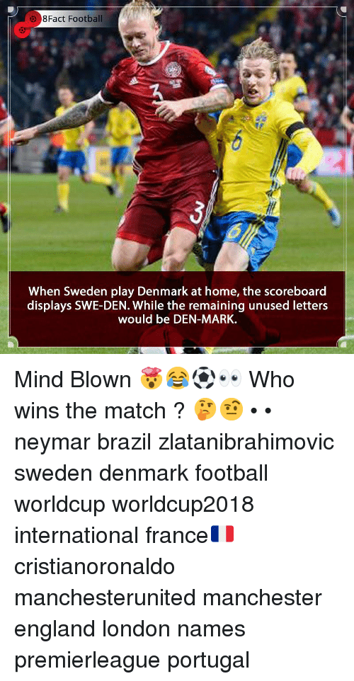 England, Football, and Memes: 8Fact Football  When Sweden play Denmark at home, the scoreboard  displays SWE-DEN. While the remaining unused letters  would be DEN-MARK. Mind Blown 🤯😂⚽️👀 Who wins the match ? 🤔🤨 • • neymar brazil zlatanibrahimovic sweden denmark football worldcup worldcup2018 international france🇫🇷 cristianoronaldo manchesterunited manchester england london names premierleague portugal