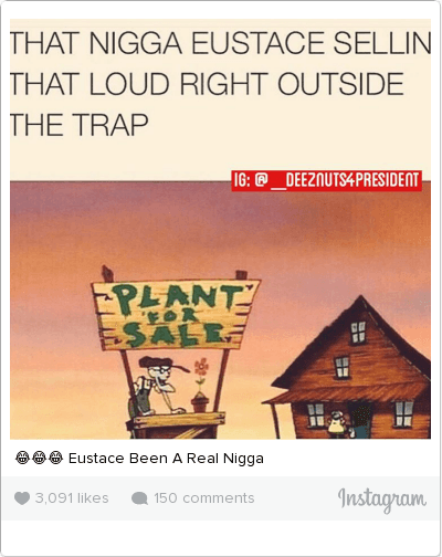 Savage, Weed, and Been: THAT NIGGA EUSTACE SELLIN THAT LOUD RIGHT OUTSIDE ΤΗΕ ΤΡΑΡ   PLANT FOR SALE 😂😂😂 Eustace Been A Real Nigga