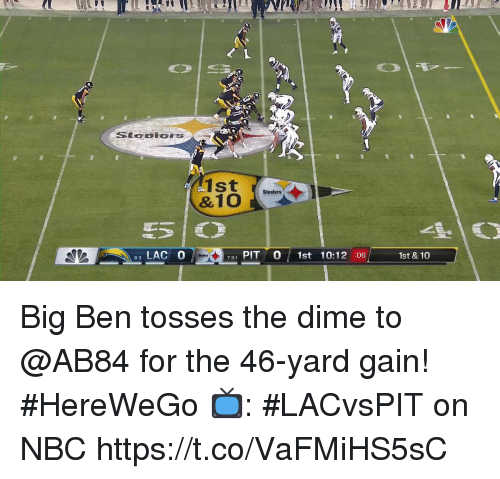 Tosses: 90  1st  Steelers  LAC O  731 PIT 0 1st 10:12 :06  1st & 10  8-3 Big Ben tosses the dime to @AB84 for the 46-yard gain! #HereWeGo  📺: #LACvsPIT on NBC https://t.co/VaFMiHS5sC