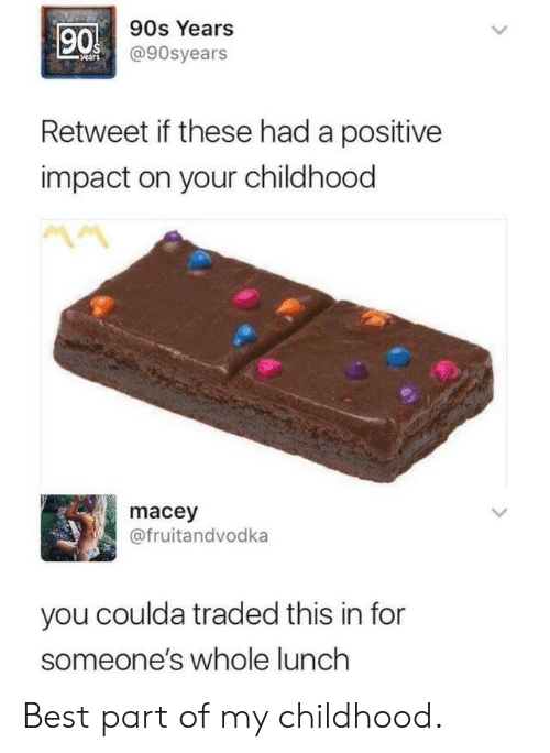 Best, You, and Impact: 9090s Years  @90syears  ears  Retweet if these had a positive  impact on your childhood  ペペ  macey  @fruitandvodka  you coulda traded this in for  someone's whole lunch Best part of my childhood.