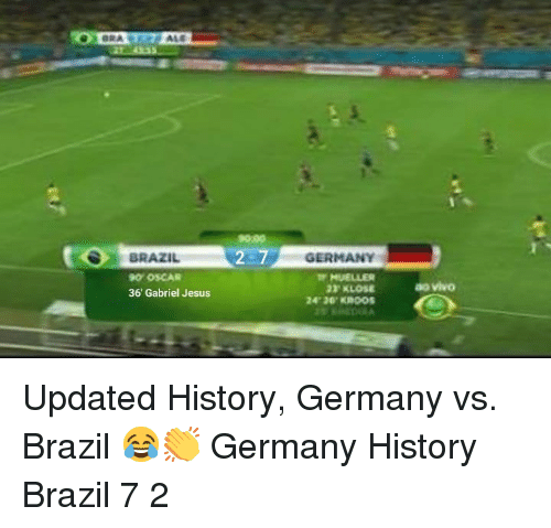 Jesus, Memes, and Brazil: 9099  BRAZIL  0 OSCAR  36' Gabriel Jesus  GERMANY  MUELLER  24 30 KROos  ao vivo Updated History, Germany vs. Brazil 😂👏 Germany History Brazil 7 2