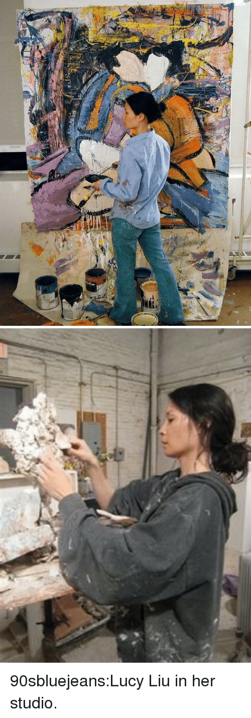 Tumblr, Blog, and Http: 90sbluejeans:Lucy Liu in her studio.