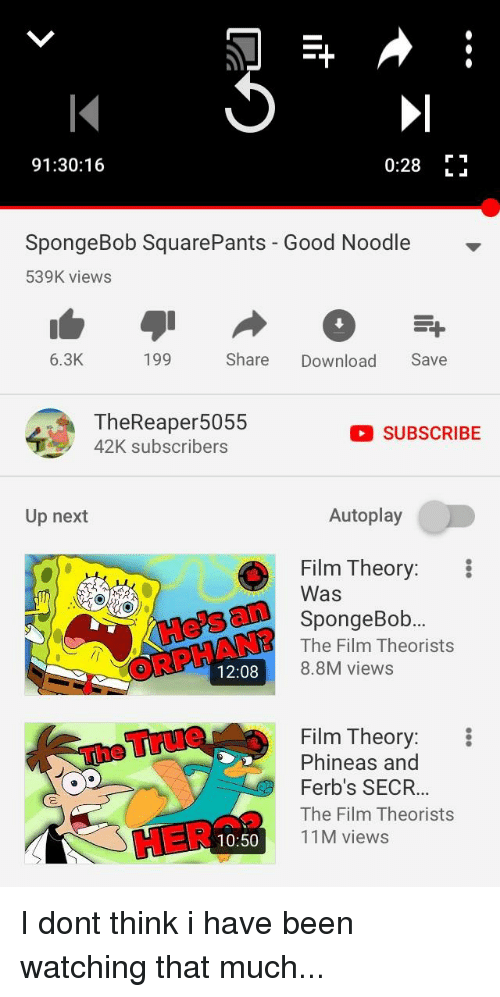 SpongeBob, Good, and Spongebob Squarepants: 91:30:16  0:28  SpongeBob SquarePants - Good Noodle  539K views  6.3K  199  Share  Download Save  TheReaper5055  42K subscribers  SUBSCRIBE  Up next  Autoplay  Film Theory:  Was  SpongeBob  The Film Theorists  8.8M views  12:08  Film Theory:  Phineas and  Ferb's SECR  The Film Theorists  11M views  10:50