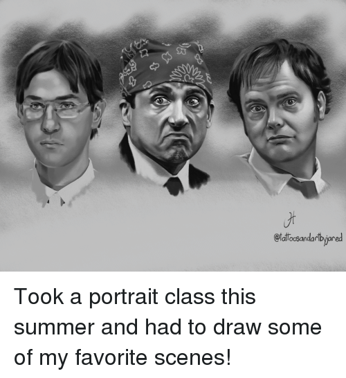 The Office, Summer, and Office: 95  alloosandarlpvar Took a portrait class this summer and had to draw some of my favorite scenes!