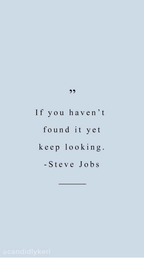 Keep Looking: 95  If you haven'it  found it yet  keep looking  - Steve Jobs