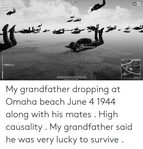 Omaha: 98 My grandfather dropping at Omaha beach June 4 1944 along with his mates . High causality . My grandfather said he was very lucky to survive .