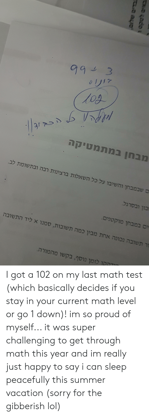 Lol, Sorry, and Summer: 99 3  זיע 0  . *די Agאא  6 א< /3 '  ח במתטיקה  שבמה ה כ רכל התל תנוא מת לב  ברגל  במב וק  ה ה ש ת מ x ת  ק מה רא מ הרה.   Lotה םב  ויה ELC - I got a 102 on my last math test (which basically decides if you stay in your current math level or go 1 down)! im so proud of myself... it was super challenging to get through math this year and im really just happy to say i can sleep peacefully this summer vacation (sorry for the gibberish lol)
