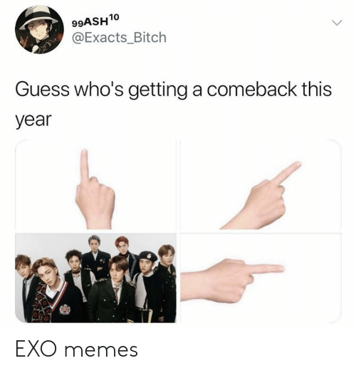 Bitch, Memes, and Guess: 99ASH10  @Exacts_Bitch  Guess who's getting a comeback this  year EXO memes