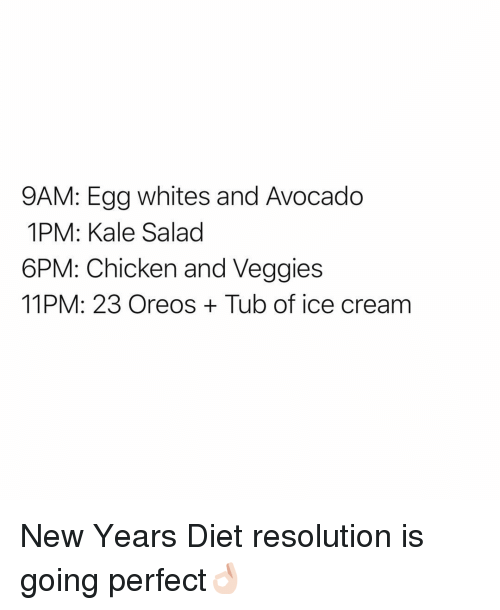 Funny, Avocado, and Chicken: 9AM: Egg whites and Avocado  1PM: Kale Salad  6PM: Chicken and Veggies  11PM: 23 Oreos Tub of ice cream New Years Diet resolution is going perfect👌🏻