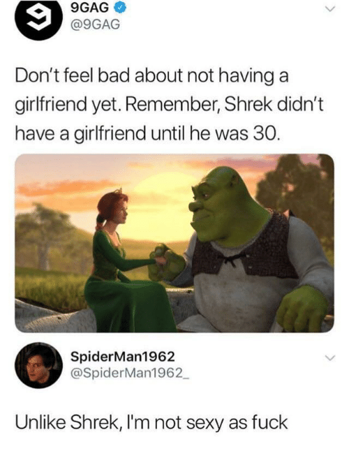 Sexy As Fuck: 9GAG  @9GAG  Don't feel bad about not havinga  girlfriend yet. Remember, Shrek didn't  have a girlfriend until he was 30.  SpiderMan1962  @SpiderMan1962  Unlike Shrek, I'm not sexy as fuck