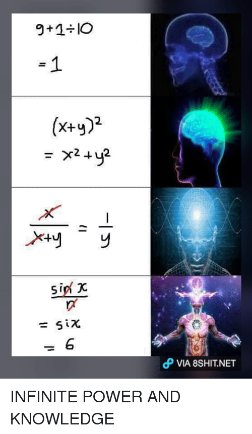 Memes, Knowledge, and 🤖: 9t1÷10  1  (x+y)2  x2 + y2  Xty  sin' x  sip-  cP VIA 8SHIT.NET  y2-1-y  びx6  g INFINITE POWER AND KNOWLEDGE