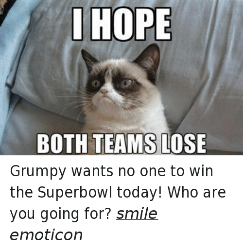 I Hope Both Teams Lose: I HOPE  BOTH TEAMS LOSE Grumpy wants no one to win the Superbowl today! Who are you going for? smile emoticon