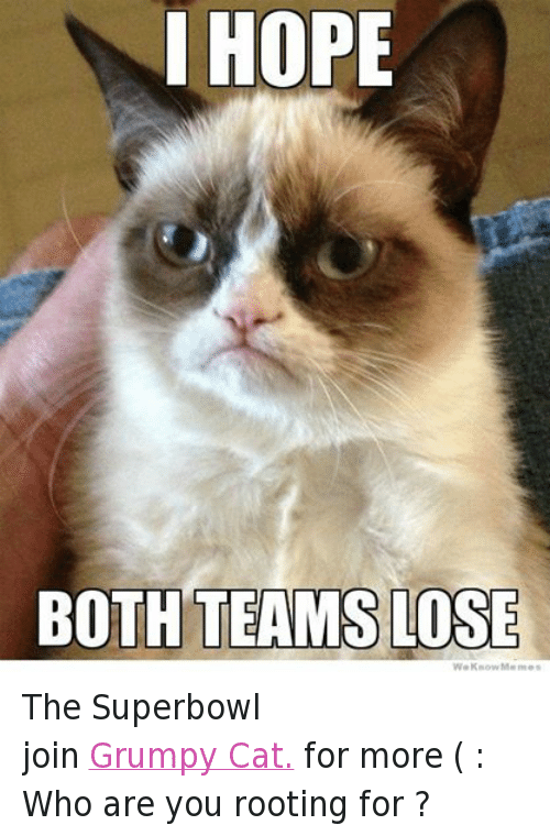 I Hope Both Teams Lose: I HOPE  BOTH TEAMS LOSE  We Know Meme The Superbowl  join Grumpy Cat. for more ( : Who are you rooting for ?
