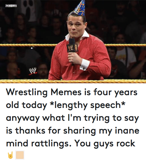 inane: WW Wrestling Memes is four years old today *lengthy speech* anyway what I'm trying to say is thanks for sharing my inane mind rattlings. You guys rock 🤘🏻