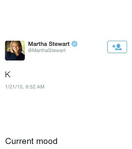 Mood, Martha Stewart, and Girl Memes: Martha Stewart  Stewart  1/21/15, 9:52 AM Current mood