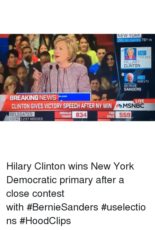 Democratic primary: NEW YURK  291 DELEGATES 76% IN  58  774,3B5  HILLARY  CLINTON  42  559,171  BERNIE  SANDERS  BREAKING NEWS  Doom  LIV  CLINTON GIVES VICTORY SPEECH AFTER NY WIN  MSNBC  TED  DONALD  DELEGATES  B34  559  CRUZ  TRUMP  TOTAL 1237 NEEDED Hilary Clinton wins New York Democratic primary after a close contest with BernieSanders uselections  HoodClips