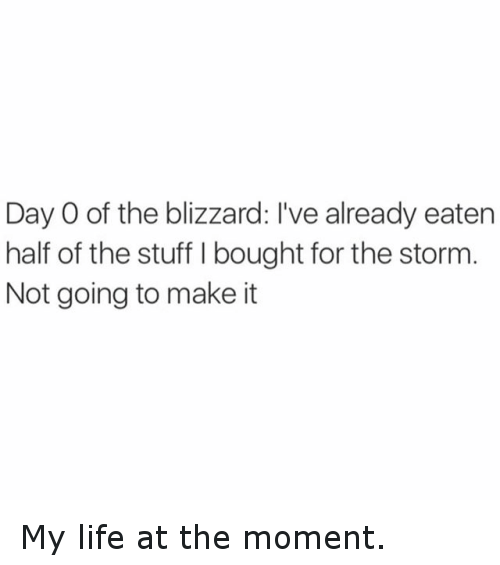 Funny, Life, and Blizzard: Day O of the blizzard: I've already eaten  half of the stuff l bought for the storm  Not going to make it My life at the moment.