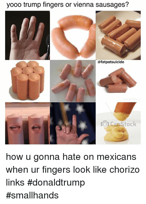 Fingering, Link, and Trump: yooo trump fingers or vienna sausages?  afatpatsuicide  O Canstock how u gonna hate on mexicans when ur fingers look like chorizo links donaldtrump smallhands
