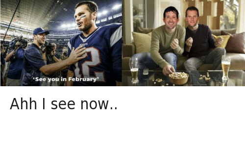 """NFL playoffs: """"See you in February""""  @NFL_Memes  Ahh I see now.. Ahh I see now.."""