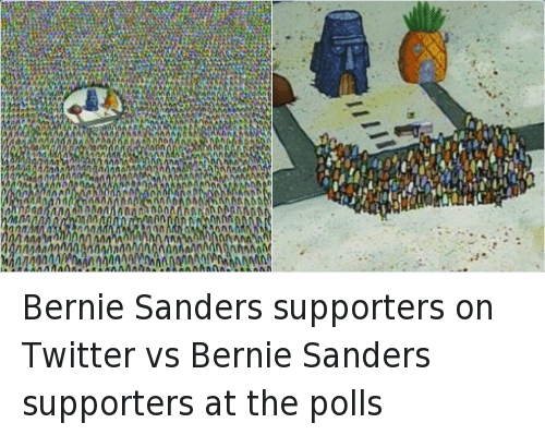 Democratic primary: Bernie Sanders supporters on Twitter vs Bernie Sanders supporters at the polls