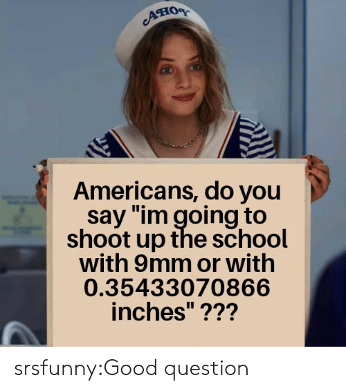 "School, Tumblr, and Blog: Aно  Americans, do you  say ""im going to  shoot up the school  with 9mm or with  0.35433070866  inches""??? srsfunny:Good question"