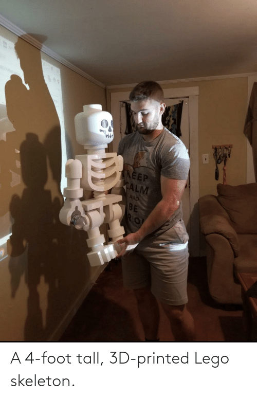 foot: A 4-foot tall, 3D-printed Lego skeleton.