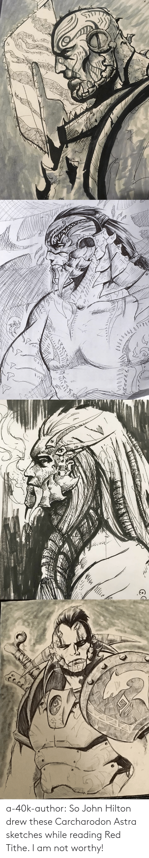 john: a-40k-author:  So John Hilton drew these Carcharodon Astra sketches while reading Red Tithe. I am not worthy!