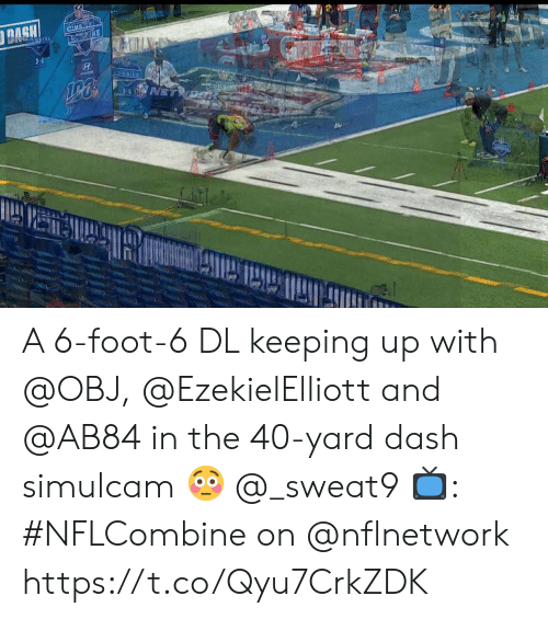 40 yard dash: A 6-foot-6 DL keeping up with @OBJ, @EzekielElliott and @AB84 in the 40-yard dash simulcam 😳 @_sweat9  📺: #NFLCombine on @nflnetwork https://t.co/Qyu7CrkZDK