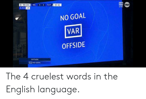 Soccer, Goal, and English: a: 90.00  3:33 +5  (54)  NO GOAL  VAR  OFFSIDE  OFFSIDE  NO GOAL The 4 cruelest words in the English language.
