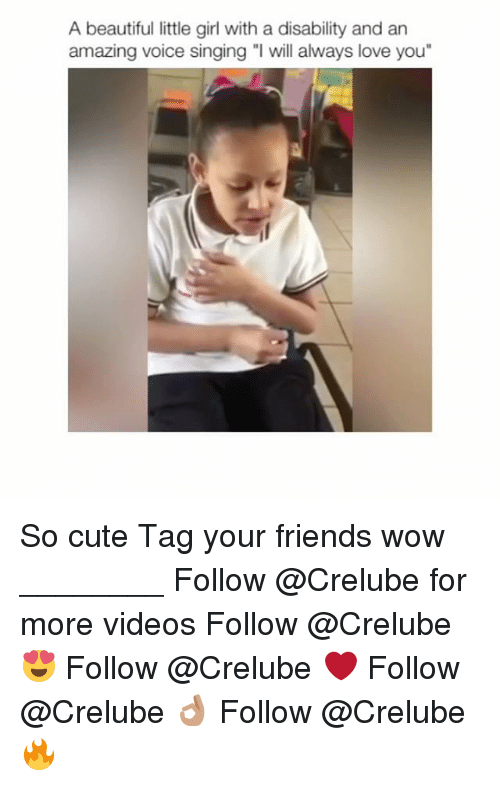 "Littles: A beautiful little girl with a disability and an  amazing voice singing ""l will always love you"" So cute Tag your friends wow ________ Follow @Crelube for more videos Follow @Crelube 😍 Follow @Crelube ❤ Follow @Crelube 👌🏽 Follow @Crelube 🔥"
